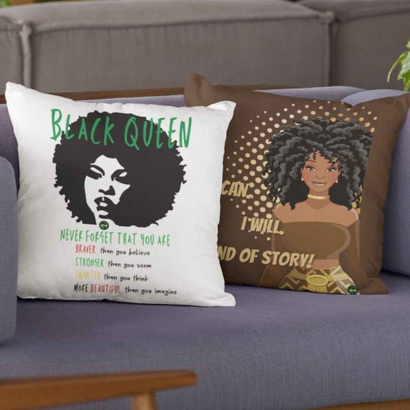 Motivational Cushion | Double Sided | Black Queen