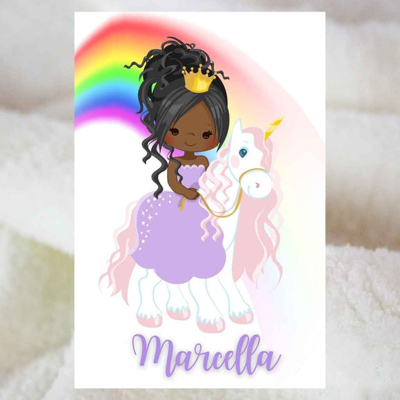 Personalised Blankets | Sherpa Fleece | BLM Kids Princess Unicorn