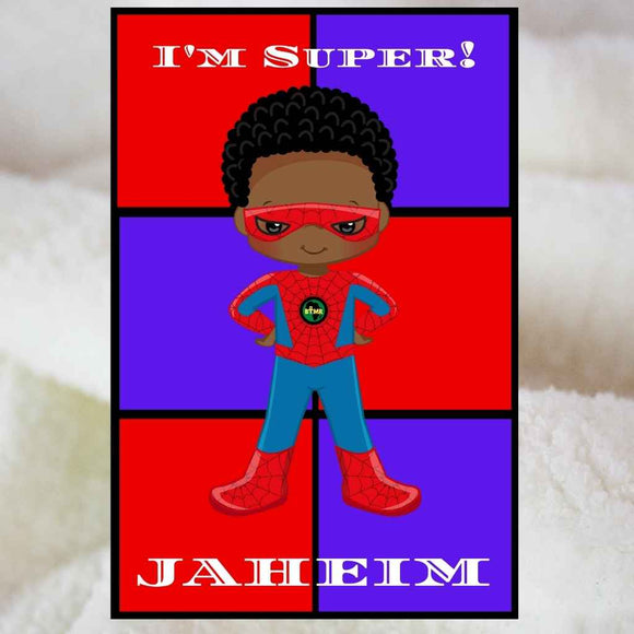 Personalised Blankets | Sherpa Fleece | BLM Kids Super Hero Squares