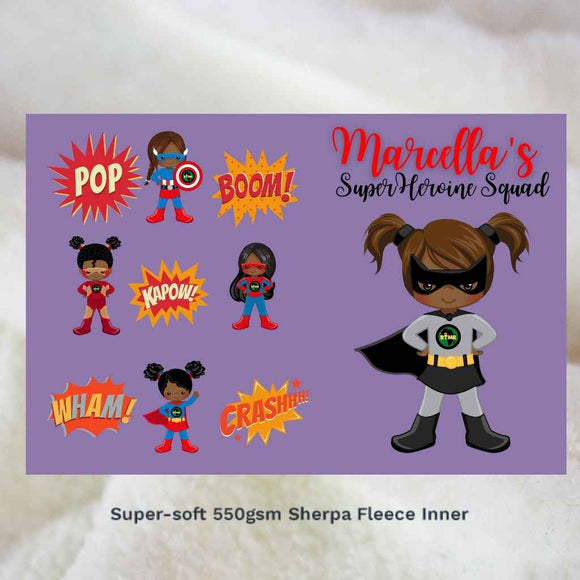Personalised Blankets | Sherpa Fleece | BLM Kids Super Heroines