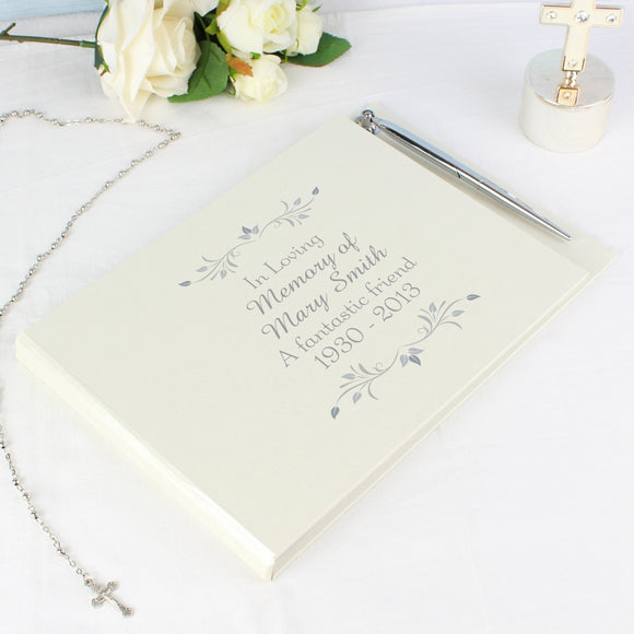 Personalised Sentiments Hardback Guest Book & Pen