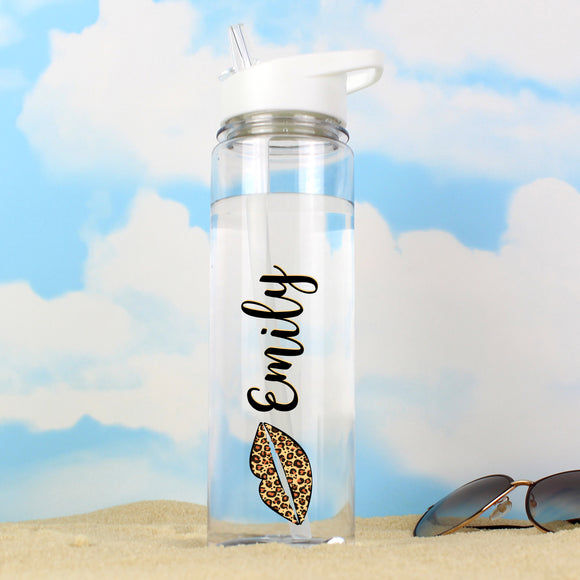Personalised Glass Water Bottle - Leopard Lips