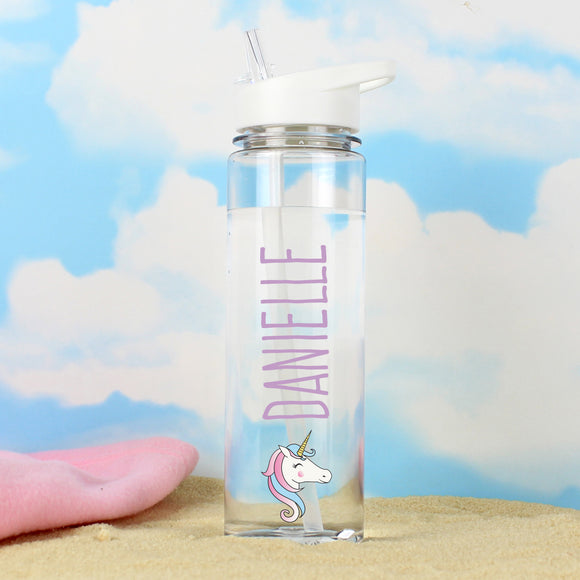 Personalised Glass Water Bottle - Unicorn