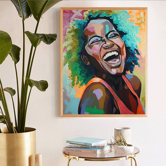 BTMR Home - Laughing Girl Abstract Digital Canvas Print
