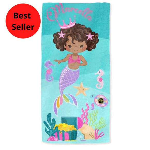 Personalised Towels | Black Mermaid in Crown | Girls