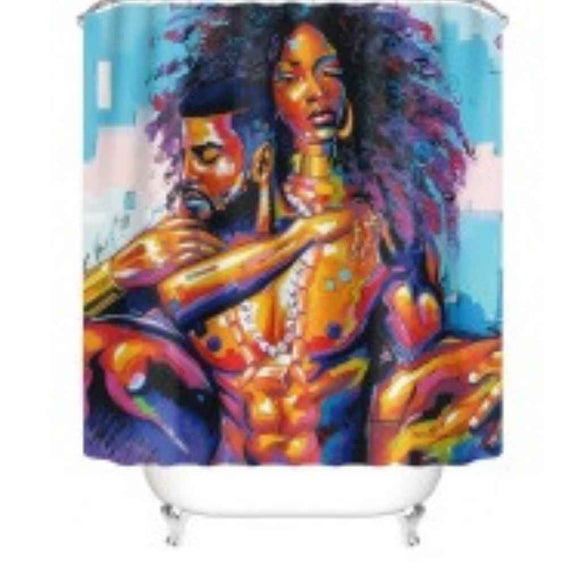 BTMR Home - Black Couple Shower Curtain and Bath Mat Set