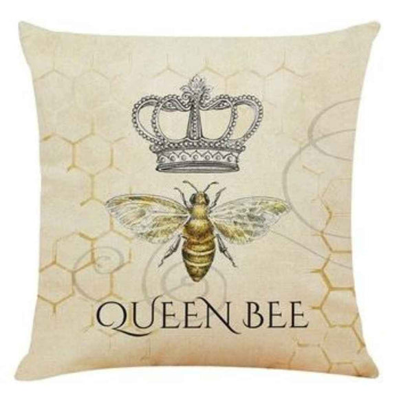 100% Linen Cushion - Queen Bee
