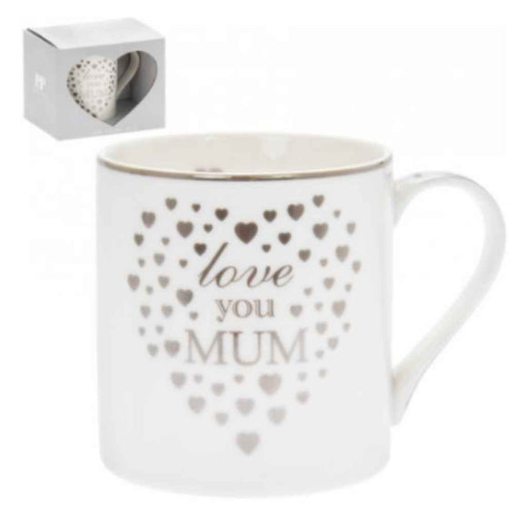 Love You Mum Silver Heart Mug