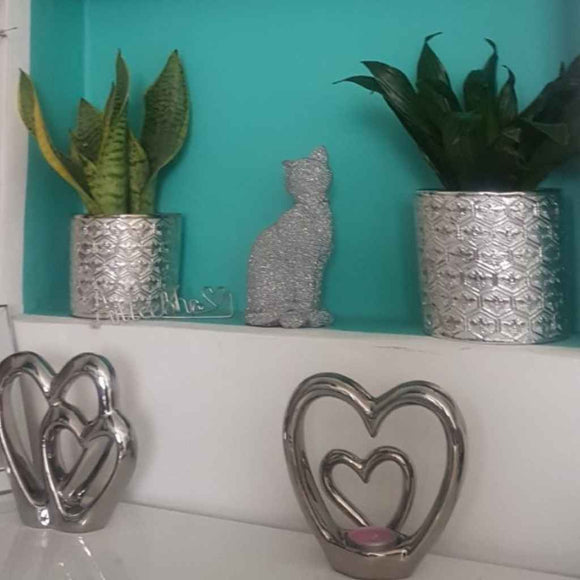 Embossed Vases & Pots | Silver Honeycomb | Various Sizes