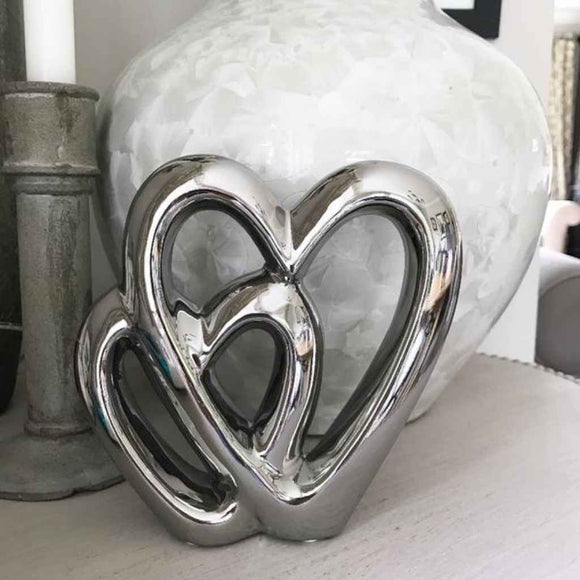 Double Heart | Ceramic Ornaments | Silver