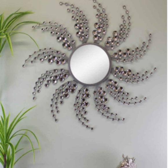 Jewelled Mirror |  Silver Metal | Swirl Design