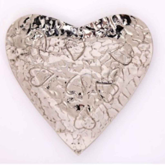 Trinket Dish | Candle Tray | Embossed Silver Heart