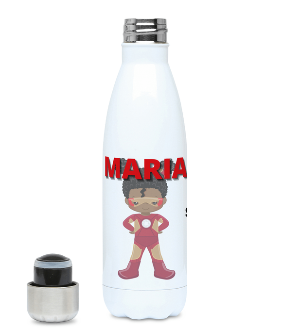 Personalised BLM Kids Hydro Flask - RedBrown Super Heroine