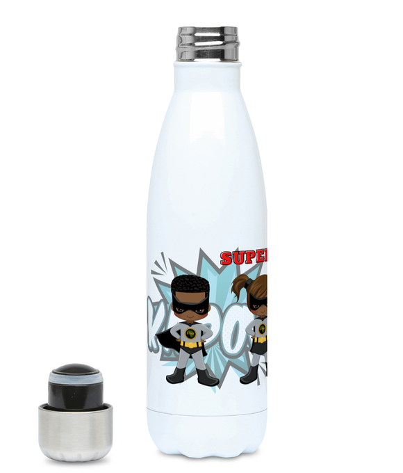 Left Profile of personalised Hydro Flask, featuring  4 characters from the BlackLikeMe SuperHero collection, 2 boy superheroes - in grey and two girl superheroines in blue and grey. Behind is an action background featuring the words Kapow and Boom. Hydro Flask is personalised at the top of the picture