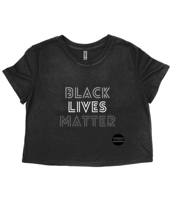 Raw Edge Cropped Tee - Black Lives Matter (grey)