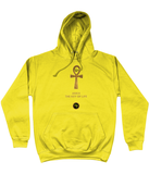 Product mockup photo of a sunshine yellow personalised Ankh Hoodie. Large gold Ankh in the  centre of the hoodie, with the words Ankh, The key of Life capitalised in Gold Font directly underneath the hoodie, with a round BTMR logo underneath. Hoodie is on a plain white background