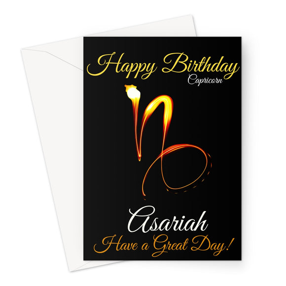 Capricorn Birthday Card - Liquid Gold