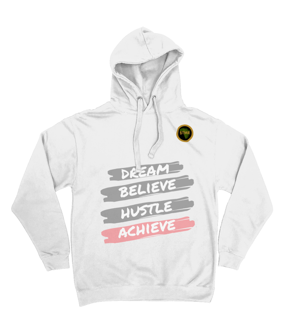 Dream Believe Pocketless Hoodie - Grey/Pink