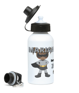 Girls Water Bottle - Grey SuperHeroine
