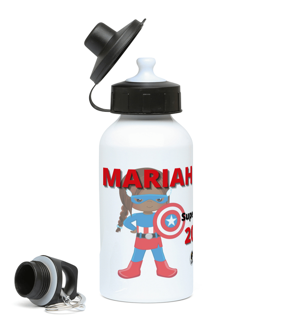 Personalised BLM Sports Water Bottle - Shield SuperHeroine