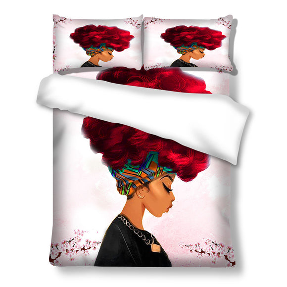 BTMR Home - Duvet Set - Afro Lady Red Headwrap