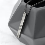 Personalised Men's Solid Bar Chain - Brushed GunMetal