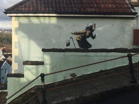 A new piece of street art by Banksy has appeared on a house in Bristol.
