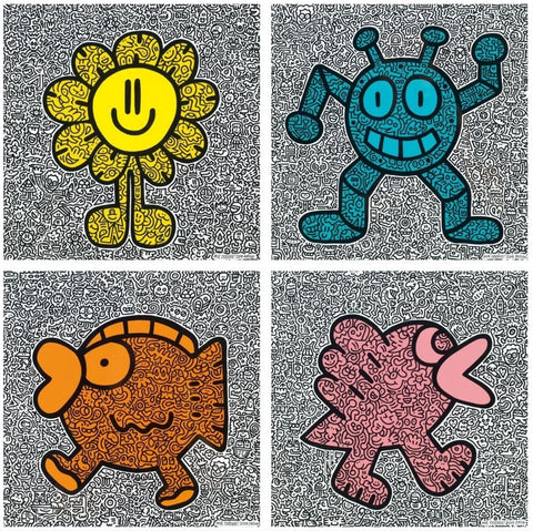 Mr Doodle - Yellow Flower, Blue Robot, Orange Fish, Pink Bird 2019 (set of 4) - [3whitedots]