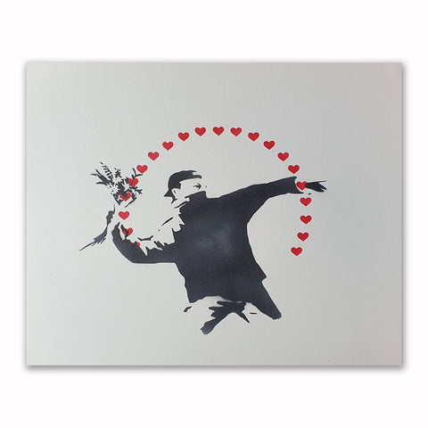 Mrs Banksy - Flower Thrower (Love) - Canvas + Spray Painted Crate
