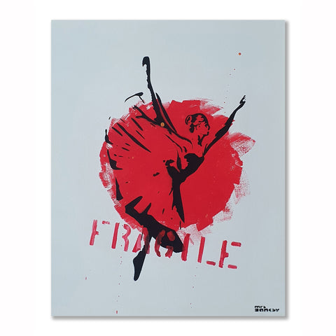 Mrs Banksy - Fragile Ballerina - Canvas + Spray Painted Crate
