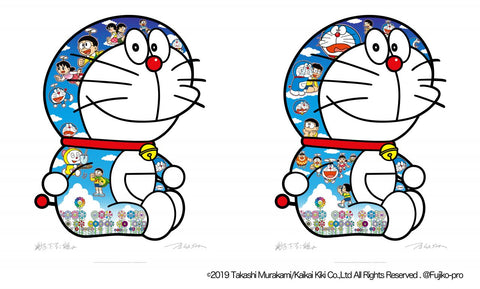 Takashi Murakami - Sitting Doreamon: A Pleasant Day Under The Blue Sky & Crying and Laughing (Set of 2)