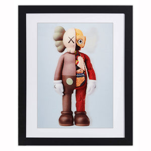 Kaws - 3D Lenticular Brown - Post Card (Framed Official Print)