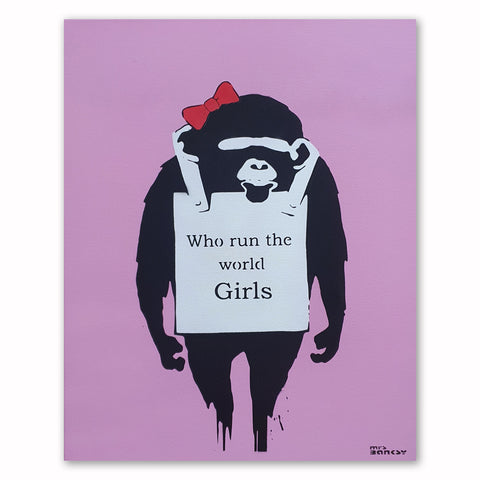 Mrs Banksy - Who run the World - Canvas + Spray Painted Crate