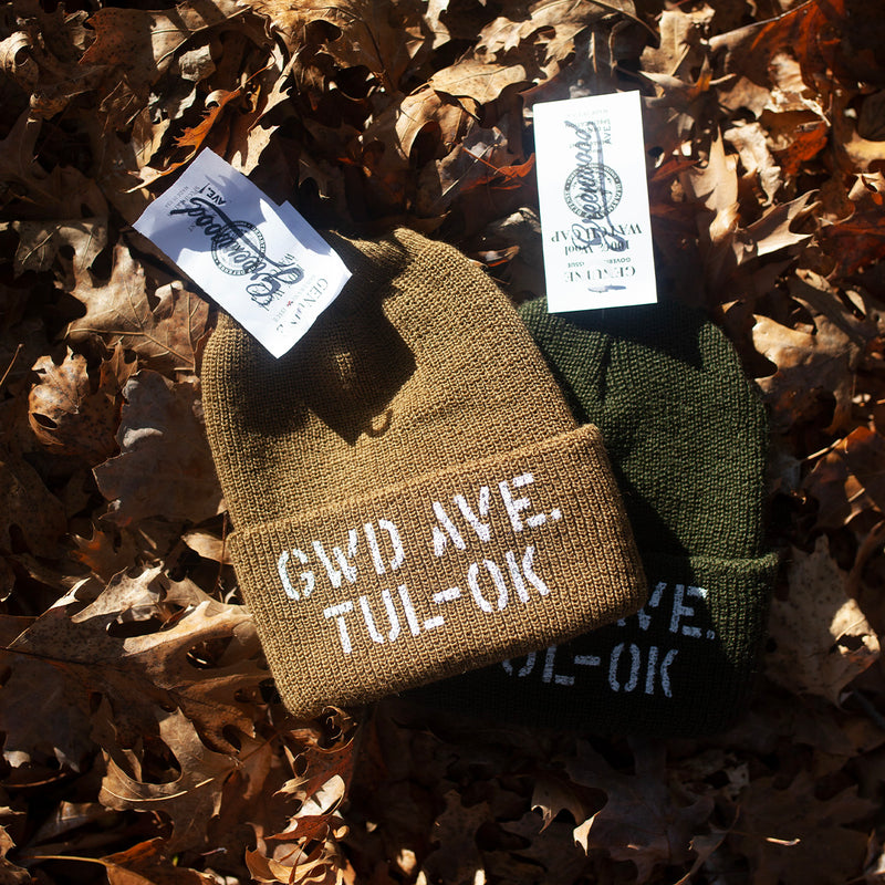 Stencil Wool Watch Cap (Green)