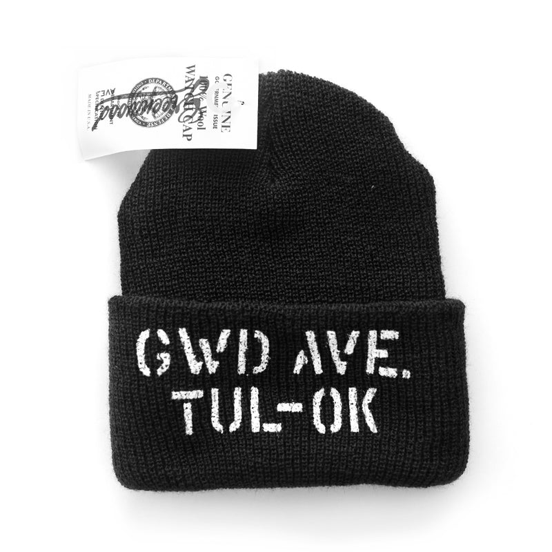 Stencil Wool Watch Cap (Black)