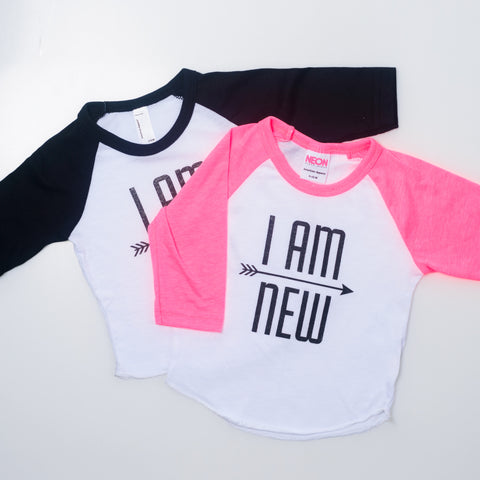 I AM NEW Pink Raglan
