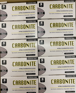 Carbonite Nitrile Examination Gloves (XS/Extra Small, Black Color)- $17.50/box of 100 Gloves. 1 Case of 10 Boxes.