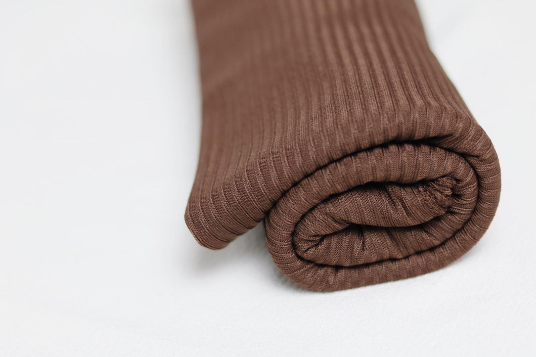 Brown ribbed jersey scarves