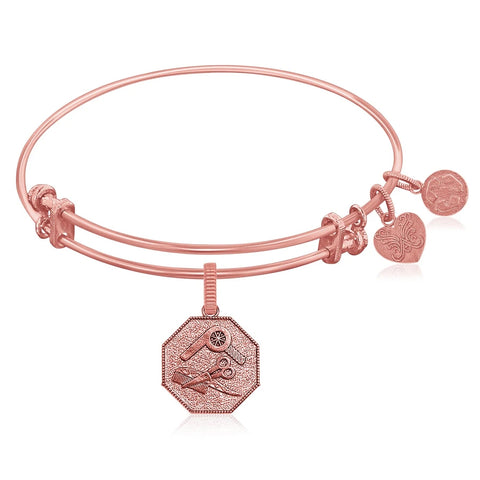Expandable Pink Tone Brass Bangle with Hair Stylist Symbol