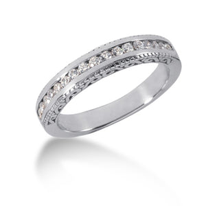 14k White Gold Vintage Style Engraved Diamond Channel Set Wedding Ring Band