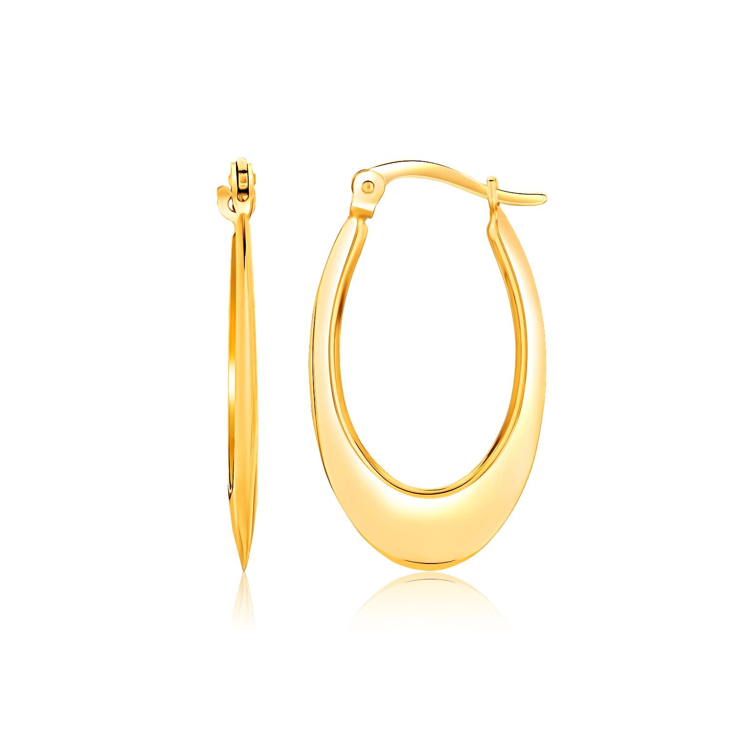 14k Yellow Gold Puffed Graduated Open Oval Earrings