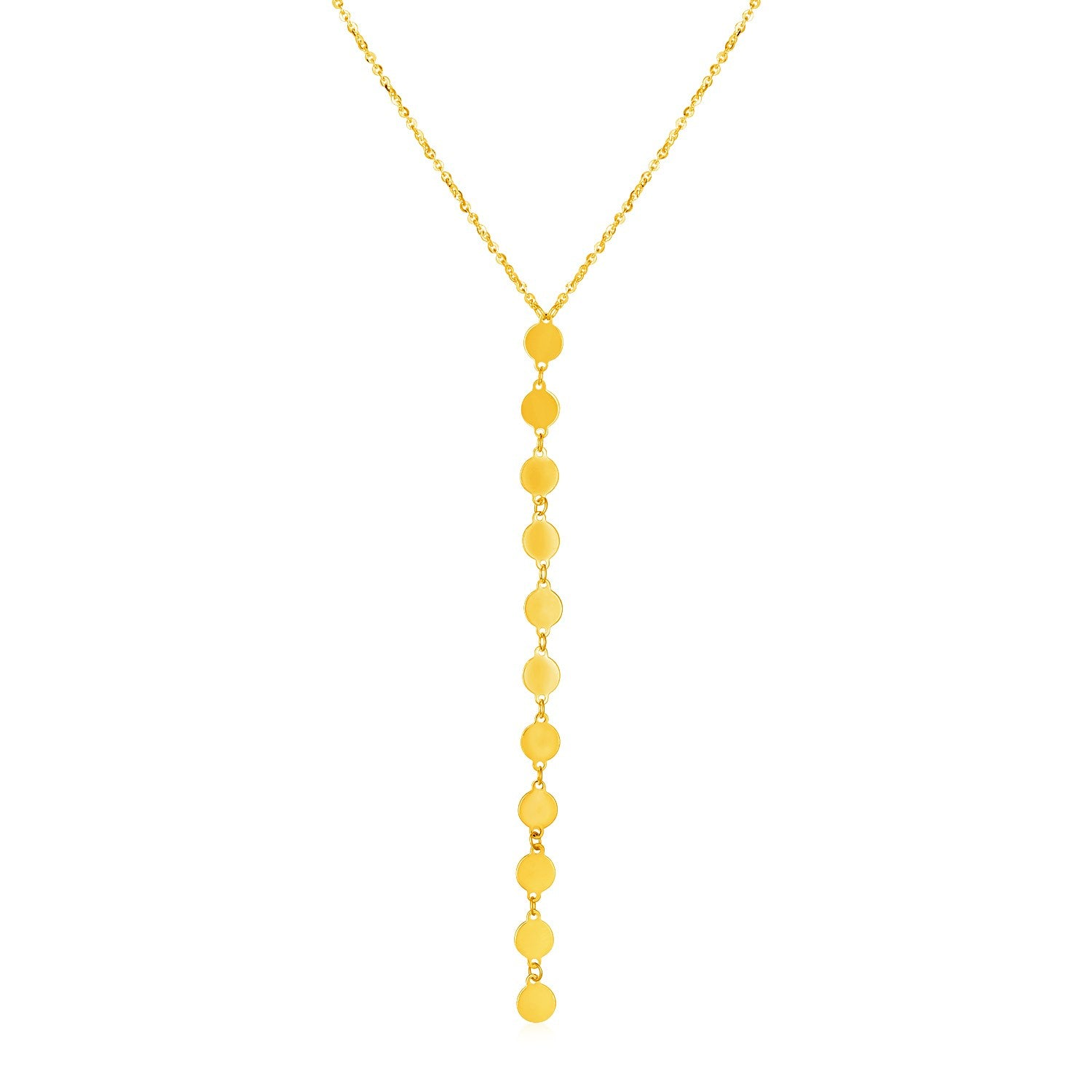 14k Yellow Gold Lariat Style Necklace with Disks