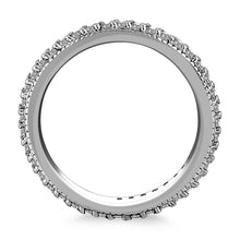 Load image into Gallery viewer, 14k White Gold Pave Set Round Cut Diamond Eternity Ring with Milgrained Edging