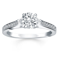 Load image into Gallery viewer, 14k White Gold Pave Diamond Cathedral Engagement Ring