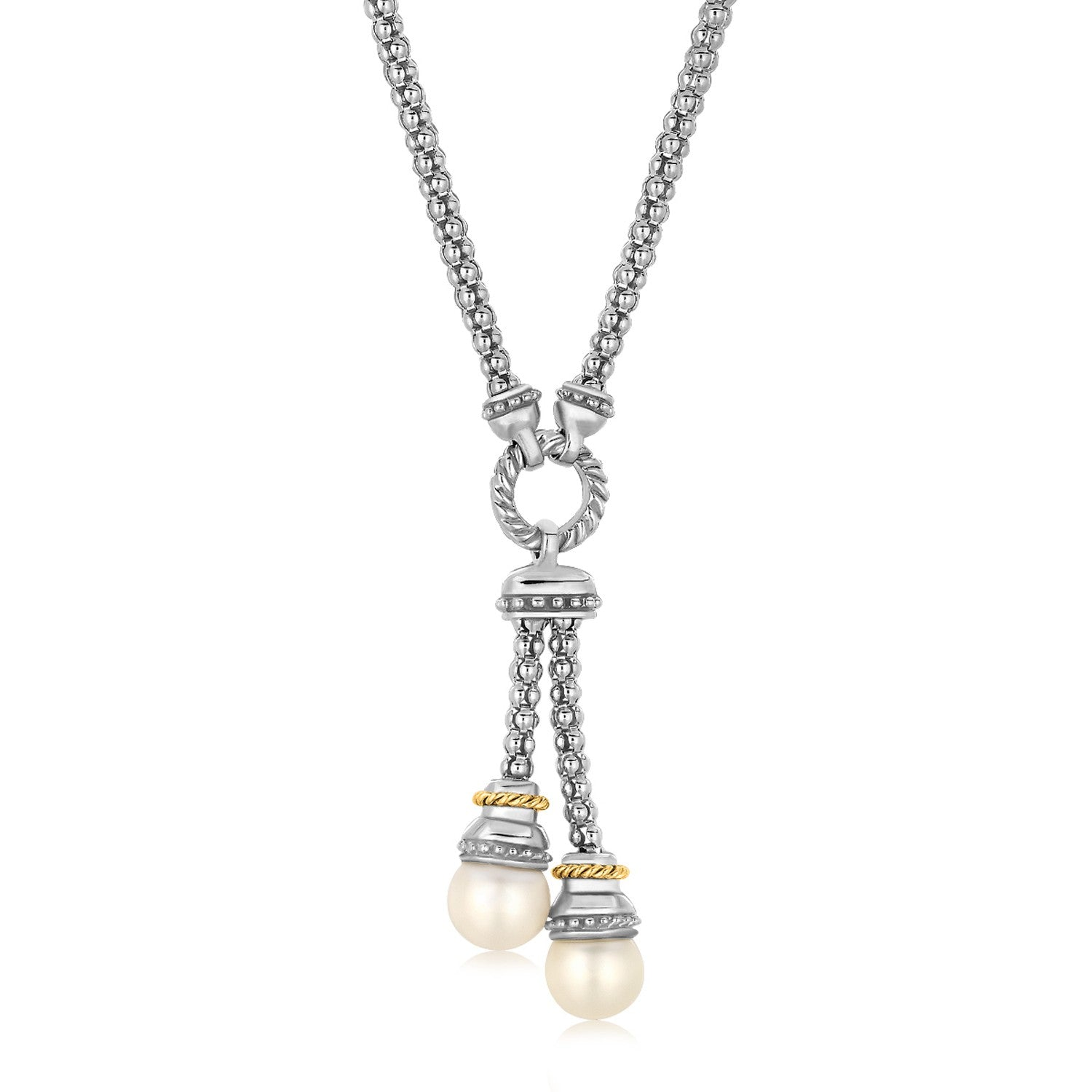 18k Yellow Gold and Sterling Silver Popcorn Style Necklace with Pearl Accents