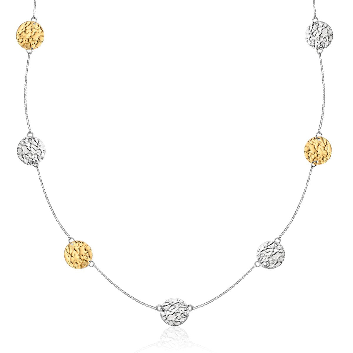 14k Yellow Gold & Sterling Silver 32 inches Reticulated Disc Station Necklace