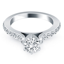 Load image into Gallery viewer, 14k White Gold Curved Shank Engagement Ring with Pave Diamonds