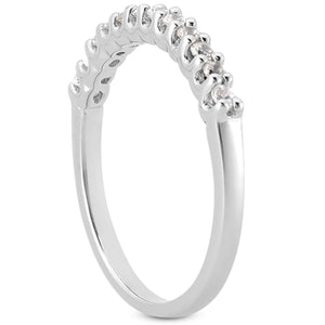 14k White Gold Fancy U Setting Shared Prong Diamond Wedding Ring Band