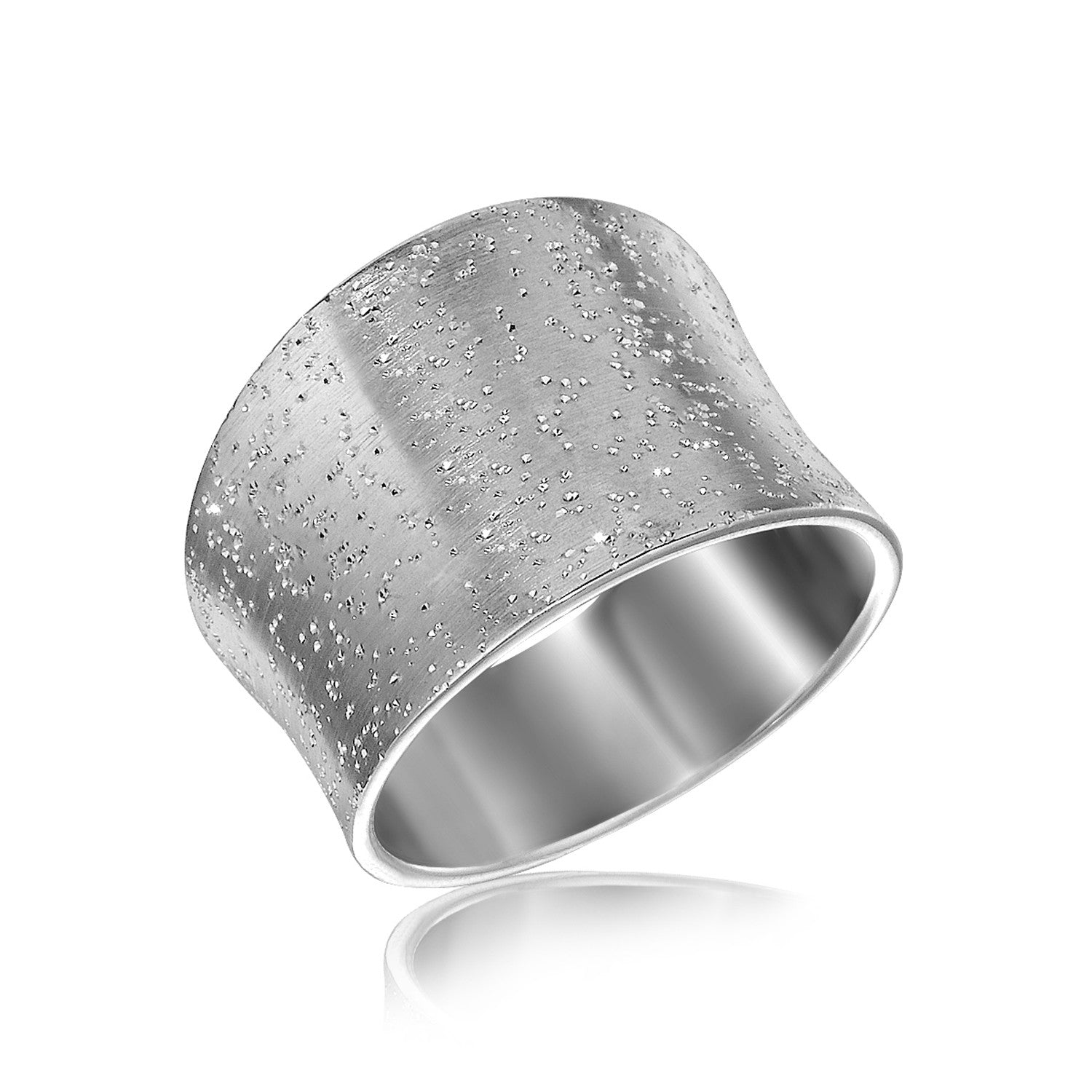 Sterling Silver Textured Rhodium Plated Concave Ring