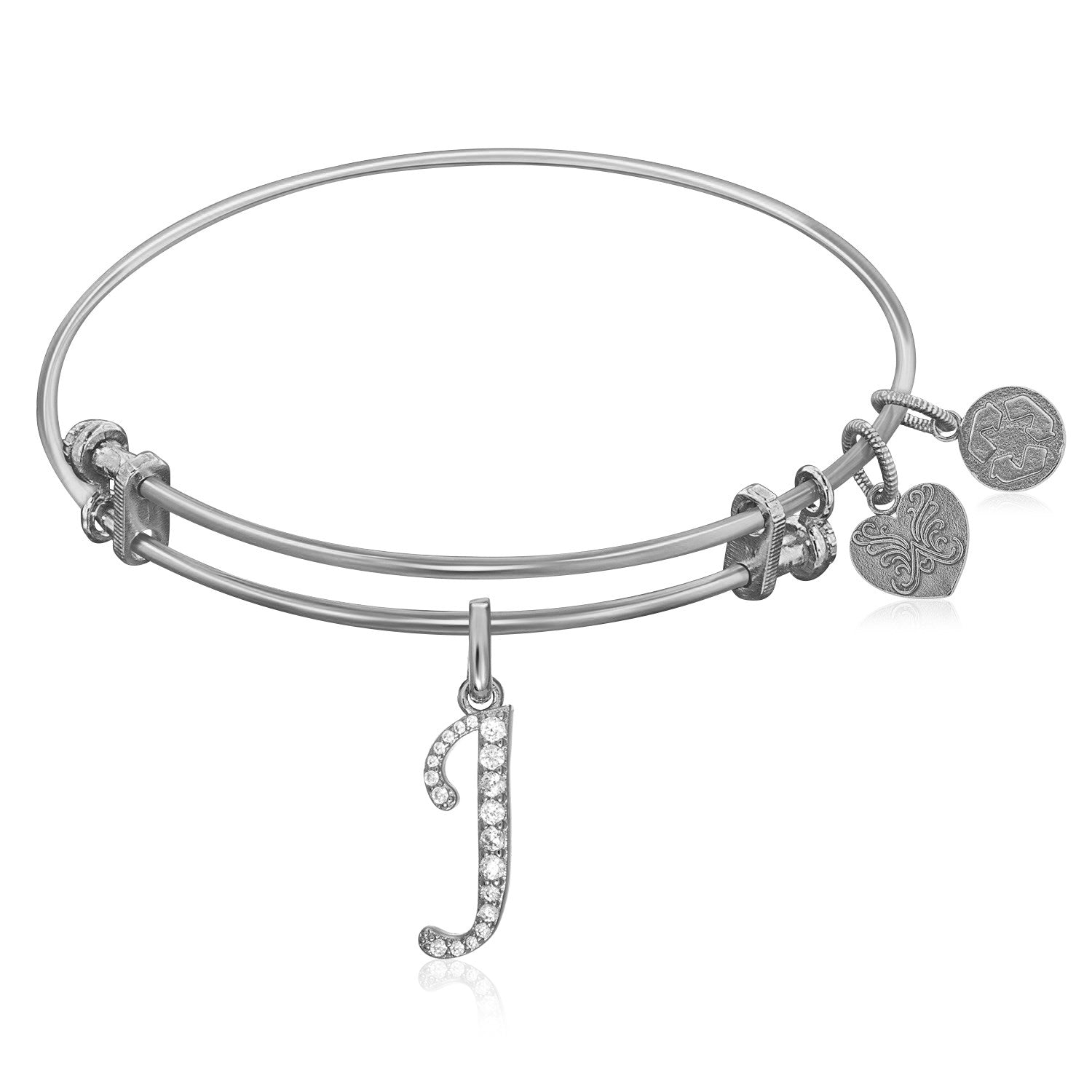 Expandable White Tone Brass Bangle with J Symbol with Cubic Zirconia